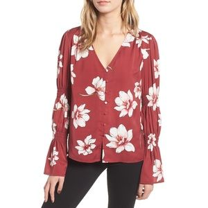 NEW Cupcakes and Cashmere Floral Printed Blouse